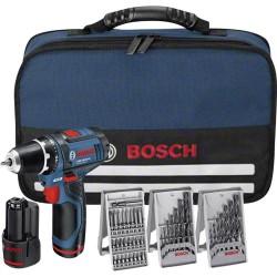 Avvitatore Bosch GSR 10.8-2-LI + 2 batterie 1.5 Ah +39 accessori