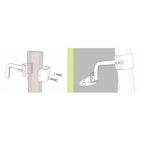Dispositivo di trattenuta per scala d'appoggio completo di 2 ganci e 2 anelli